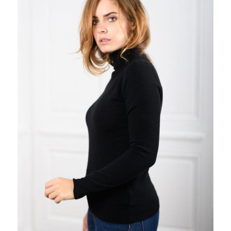f7eead18b51 Pull laine col roulé femme - Augustine noir - Le-pull-francais.com