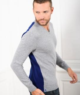 Le Pull Français César - gris chiné/bleu indigo