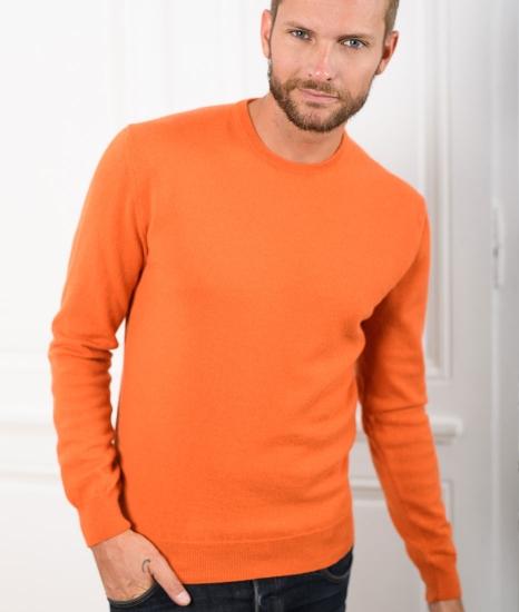 pull laine col rond homme marcel orange br l le pull. Black Bedroom Furniture Sets. Home Design Ideas
