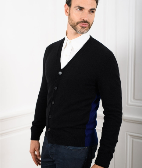 Le Pull Français Marius - noir/bleu indigo